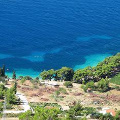 The blue coast off Hvar Island outside Split Croatia.