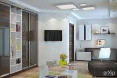Желтый и современный интерьеры, назначение - квартира, дом | тип - гостиная | площадь - 20 - 30 м2 | стиль - современный, модернизм | ценовой сегмент - высокий. Разместил Нина Романюк на портале arXip.com