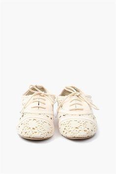 Lace Oxford Flat - White