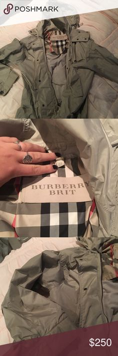 Like new Burberry Jacket This Burberry jacket is in like new condition and barely worn. It is lightweight and made from rain resistant wind breaker material, and it's super warm! make me an offer! Burberry Jackets & Coats
