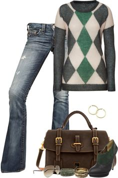 """""""Untitled #191"""" by partywithgatsby ❤ liked on Polyvore  -- I love how the shoes match the sweater!!"""