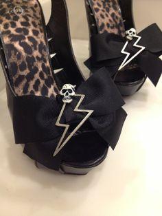 Skull Lightning Bolt rockabilly shoe clips
