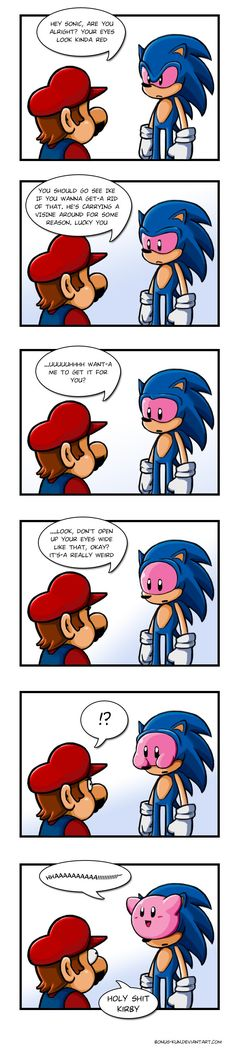 Mario & Sonic, Kinda creepy how Kirby climbs out lol Video Game Memes, Video Games Funny, Funny Games, Super Smash Bros, Super Mario Bros, 4 Panel Life, Humor Grafico, Anime Eyes, Gaming Memes