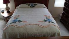 Vintage Chenille Bedspread Blue Flower Peach Ribbon Design