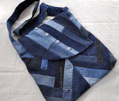 Large Patchwork Denim Bag,  Ooak Bohemian Crossbody Messenger bag, Recycled Reclaimed Denim, Handmade by Barefoot Modiste, Unique Eco Chic