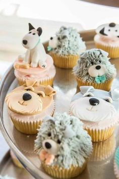 Top 10 Birthday Party Theme Ideas for Girls - PlumPolkaDot Puppy Birthday Cakes, Puppy Birthday Parties, Birthday Cupcakes, 10 Birthday, Puppy Party, Puppy Cupcakes, Puppy Cake, Animal Cupcakes, Cupcake Day