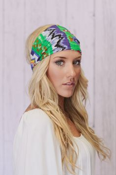 Green Aztec Headband Bohemian Turban Headband Wide Hair Wrap
