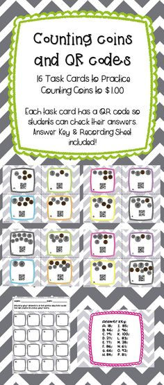 Counting Coins and QR Codes Money Activities, Counting Activities, Math Resources, Teaching Money, Creative Teaching, Student Teaching, Teaching Ideas, Math Stations, Math Centers