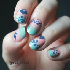 """58 Me gusta, 10 comentarios - Welcome = Willkommen = Witam  (@nailnofail) en Instagram: """"Ombré nails in mint and pink and blue stamping with #holyshapes plate by @moyoulondon  have a nice…"""""""