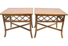 Rattan Side Tables, Pair