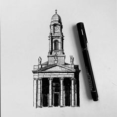 A study of a lesser known church in Dublin City but one of my favourites. St. Paul's church, Smithfield sits on the River Liffey and deserves a more detailed drawing in the future. Dublin City, Urban Sketchers, Big Ben, Sketches, Study, River, Future, Architecture, Drawings