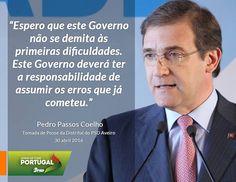 Pedro Passos Coelho, Presidente do Partido Social Democrata, na Tomada de Posse dos Órgãos Distritais do PSD de Aveiro. 30 de abril de 2016 #PSD #acimadetudoportugal
