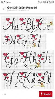 Letras p d cruz Cross Stitch Letter Patterns, Cross Stitch Letters, Just Cross Stitch, Cross Stitch Heart, Simple Cross Stitch, Cross Stitch Designs, Stitch Patterns, Filet Crochet, Cross Stitching