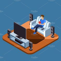Man watching television on sofa by Microvector on @creativemarket