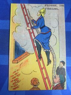 WW1 Comic Postcard 1914 1918 Suffragette Lady War Worker Fire Brigade Fighter