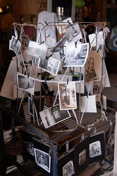 naked lampshade covered in vintage photos