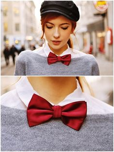 Button down, sweater, bow tie, messenger cap : cute style