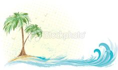 Palm tree island Royalty Free Stock Vector Art Illustration