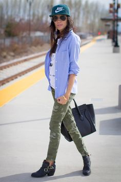 printed tee chambray shirt camo skinny jeans black cowboy booties