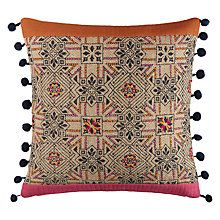Buy John Lewis Hessian Pompoms Cushion, Multi Online at johnlewis.com