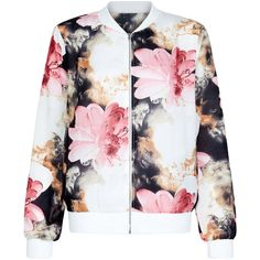 New Look Cameo Rose White Oversized Floral Print Bomber Jacket (€14) ❤ liked on Polyvore featuring outerwear, jackets, white pattern, pattern jacket, white jacket, oversized jacket, white bomber jacket and patterned bomber jacket