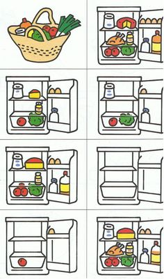what's there in the fridge? Preschool Themes, Preschool Worksheets, Sequencing Cards, Food Vocabulary, Montessori Math, Speech Therapy Activities, Food Themes, Speech And Language, Kindergarten