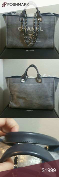 CHANEL DEAUVILLE BLUE LARGE TOTE 100% Authentic.  Poshmark will verify the authenticity for you. Was acquired last year through TRADESY. I paid top dollars for it, so please, no low balling. NO FLAWS. LIGHT SIGNS OF USE. CLEAN INTERIOR, ODOR FREE. CORNERS ARE IN GREAT SHAPE. Possible trade with SELECTIVE POSHERS.  TRADE VALUE: $2500. MAKE YOUR OFFER USING THE BUTTON. THANKS. CHANEL Bags Totes