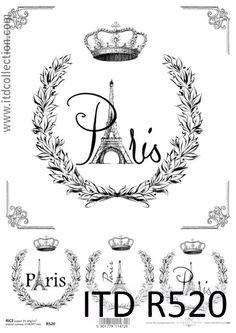 Rice Paper for Decoupage, Scrapbook Sheet, Craft Vintage Labels Paris 2 Vintage Pictures, Vintage Images, Paris Crafts, Papel Vintage, Paris Images, Scrapbooking, Decoupage Paper, Black N White Images, Vintage Labels