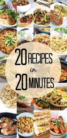 20 Recipes in 20 Minutes or Less! (Thanks for including my easy spice-rubbed pork chops recipe! Fancy Dinner Recipes, Vegetarian Recipes Dinner, Lunch Recipes, Healthy Recipes, Sweets Recipes, Lunch Meal Prep, Side Recipes, Ground Beef Recipes, Quick Meals