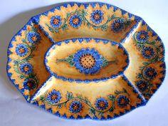 Piatto antipastiera ovale in ceramica dipinta a mano. Decoro Floris, by ilciliegio, 35,00 € su misshobby.com