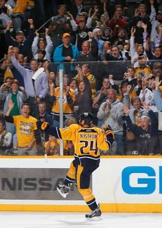 Eric Nystrom #24 celebrates his penalty shot goal (I'm in this photo too!!! top right corner. Yep we have good seats! ~cheryl)