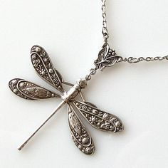 silver dragonfly necklace dragonfly jewelry by KriyaDesign on Etsy