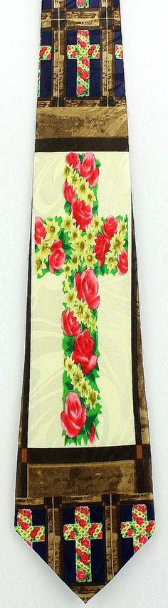Flowers on the Cross Mens Necktie Christian Jesus Religious Easter Gift Tie New #StevenHarris #NeckTie