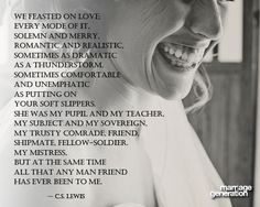C.S. Lewis reflecting on his relationship with his wife, Joy Davidman. - Takes me