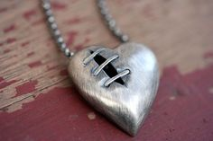 Sutured Heart Necklace Silver Free Domestic by IdleHandsDesigns