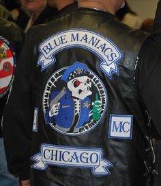 Blue Maniacs MC, Chicago, Motorcycle club patch How cops can be in an MC is beyond me. Motorcycle Mechanic, Motorcycle Logo, Motorcycle Clubs, Motorcycle Leather, Motorcycle Jacket, Biker Jackets, Persona, Bike Gang, Biker Clubs