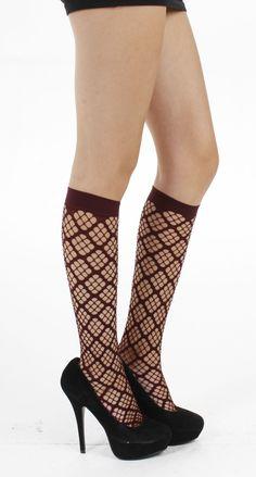 Square Holes Knee High Socks (Chocolate) - Pamela Mann