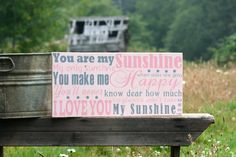 You are my sunshine sign, wall art, nursery decor, hand painted, baby girl decor, girls room on Etsy, $39.99