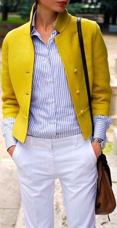 Great yellow mustard blazer with pin stripe shirt fall-winter layers