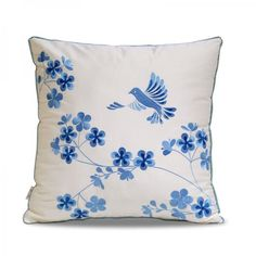 Blue flowers embroidered throw pillow China style sofa cushions
