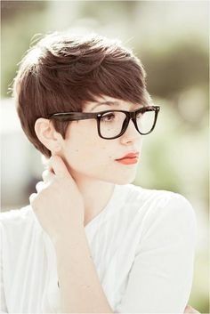 Cute, geek chic pixie cut.