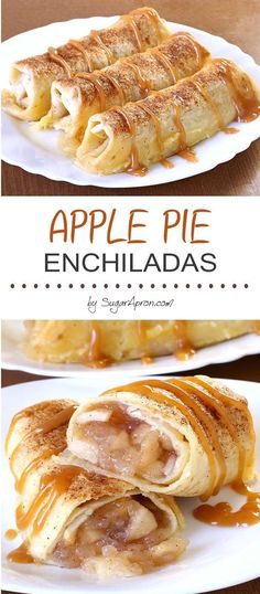 Apple Pie Enchiladas - Easy Food Delicious Baked Apple Pie Enchiladas give you all the cinnamony goodness of hot apple pie stuffed securely into a tortilla and drizzled with caramel s. Apple Pie Recipes, Best Dessert Recipes, Desert Recipes, Easy Desserts, Gourmet Recipes, Mexican Food Recipes, Cooking Recipes, Apple Recipes Easy Quick, Fun Baking Recipes