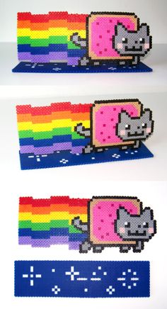 Perler Bead Nyan Cat with Stand by NerdyNoodleLabs on deviantART