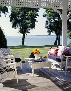 White Country Patio - Outdoor Patio Design Ideas - Lonny How serene!  www.fashions4lv.at.nr   Fashion stylewith louis vuitton only $129.8 very very very cheap!!!!