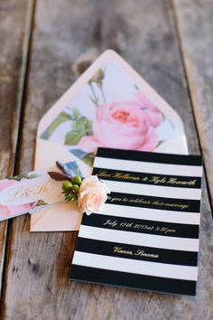 Unique black, gold, white and pink wedding invitaitons - Bold black and white stripes + pink floral envelope liner {Megan Clouse Photography}