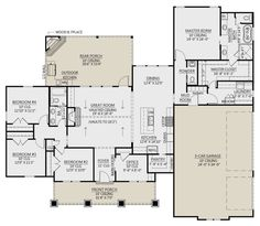 Craftsman Plan: 2,300 Square Feet, 4 Bedrooms, 2.5 Bathrooms - 4534-00047 Floor Plan 4 Bedroom, 4 Bedroom House Plans, Ranch House Plans, Best House Plans, Dream House Plans, House Floor Plans, Custom House Plans, Craftsman Floor Plans, Open House Plans