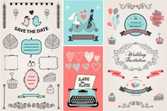 200 Wedding Design Elements Bundle by Marylia on Creative Market