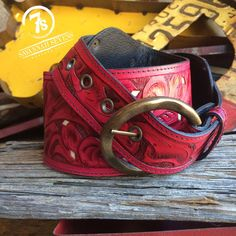 The Red River – hand tooled red leather wide belt from Savannah Sevens Western Chic