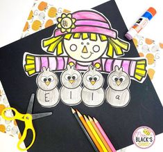 This scarecrow craft is perfect for students in PreK, Kindergarten, First or Second grades.  Children will have so much fun coloring and decorating the boy or girl scarecrow.  This craft can be used as a name practice activity or as a writing opportunity.  Students build fine motor skills as they cut and paste the craft and then complete the name or writing portion.  This lesson makes an adorable display for classroom doors, hallways or bulletin boards once completed.