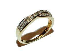 Fully Hallmarked 9ct Yellow Gold & Diamond Crossover Eternity Ring -UK Size O1/2